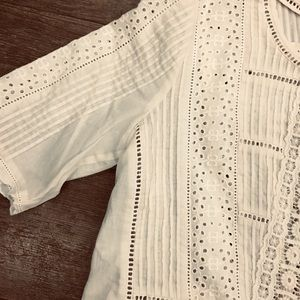 NWT Rebecca Taylor voile lace top 0